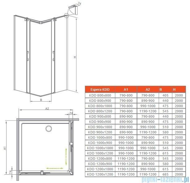 Radaway Espera KDD Kabina prysznicowa 90 część lewa szkło przejrzyste 380151-01L