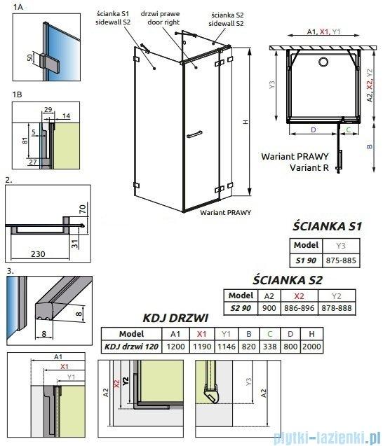 Radaway Euphoria KDJ+S Kabina przyścienna 90x120x90 prawa szkło przejrzyste 383024-01R/383050-01/383030-01