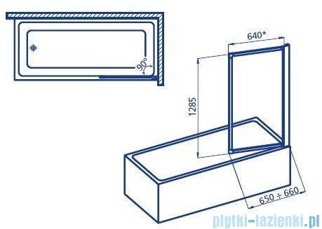 Aquaform Standard 1 parawan nawannowy 65x128cm szyba polistyrenowa profil biały 04200