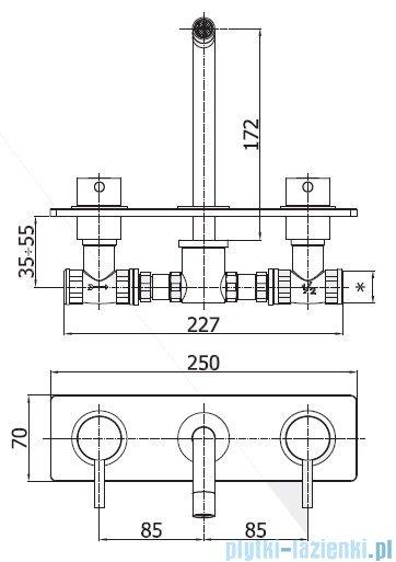 Paffoni  Light bateria podtynkowa umywalkowa L-175 mm chrom LIG100