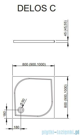 Radaway Treviso DW+S kabina 80x80 szkło przejrzyste + brodzik Delos C + syfon 32313-01-01N/32413-01-01N/SDC0808-01
