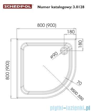 Schedpol Grando Plus Brodzik półokrągły 80x80x17cm 3.0128