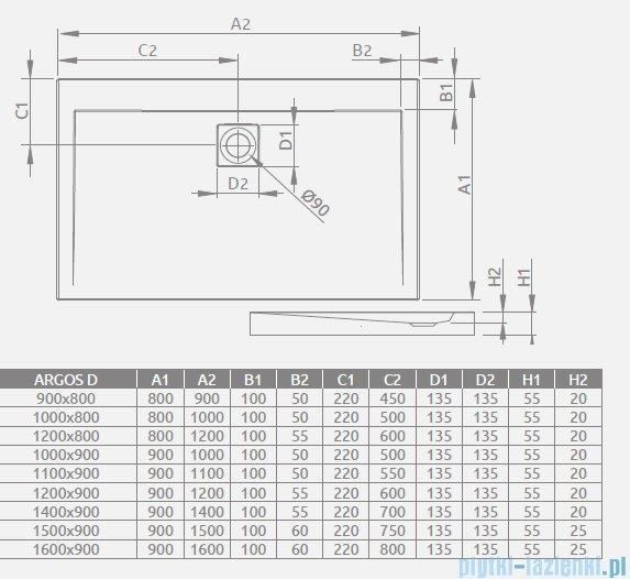 Radaway Twist DW+S Kabina prysznicowa 90x80 szkło przejrzyste + brodzik Argos D + syfon 382002-01/382011-01/4AD89-01