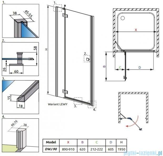 Radaway Almatea DWJ Drzwi wnękowe 90 Lewe szkło grafitowe 31002-01-05N