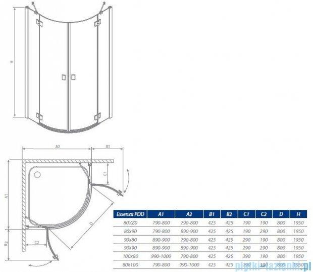 Radaway Essenza PDD kabina 80x80 szkło grafitowe 32512-01-05N