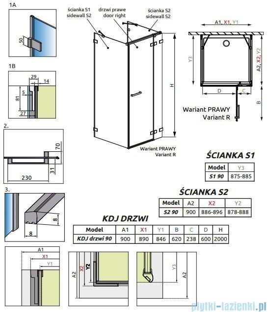 Radaway Euphoria KDJ+S Kabina przyścienna 90x90x90 prawa szkło przejrzyste + brodzik + syfon 383020-01R/383050-01/383030-01/SDC0909-01