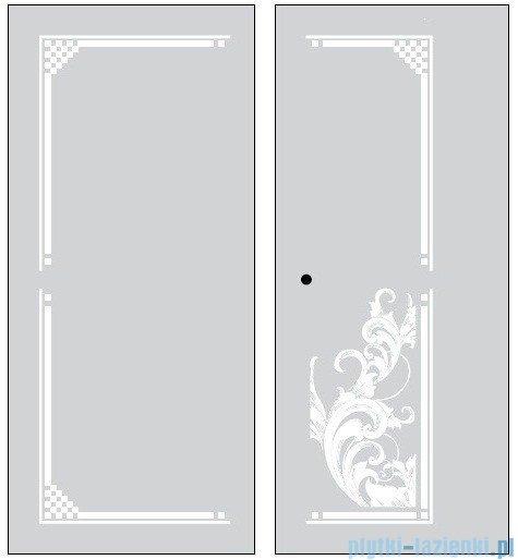 Kerasan Kabina kwadratowa lewa, szkło dekoracyjne piaskowane profile złote 100x100 Retro 9150P1