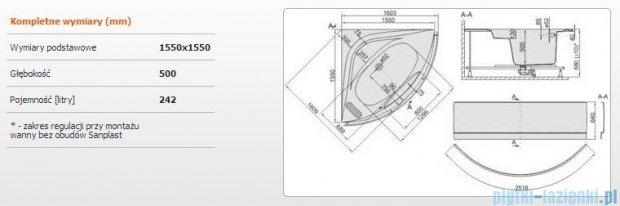 Sanplast Altus Wanna symetryczna+stelaż+reling+obudowa WS-lx-kpl-ALT/EX 155x155+SP, 610-120-1060-01-000