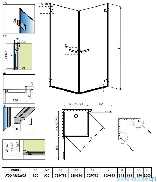 Radaway Arta Kdd I kabina 80x90cm szkło przejrzyste 386060-03-01L/386061-03-01R