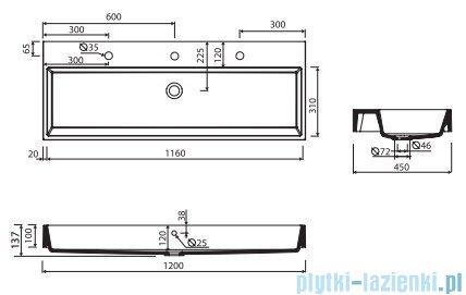 Marmorin Teo 1200 umywalka wisząca 120x45 z otworem przelewowym i bez otworu na baterie biała 641120020210