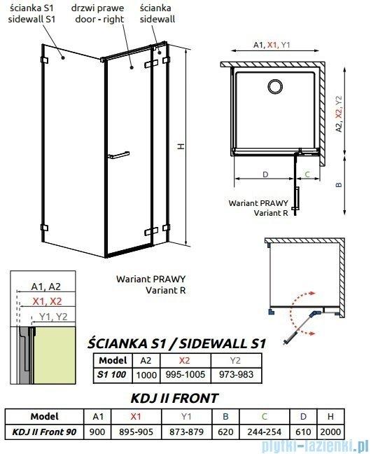 Radaway Arta Kdj II kabina 90x100cm prawa szkło przejrzyste 386455-03-01R/386040-03-01R/386022-03-01
