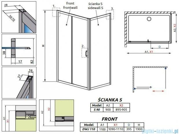 Radaway Premium Plus DWJ+S kabina prysznicowa 110x90cm szkło fabric 33302-01-06N/33403-01-06N