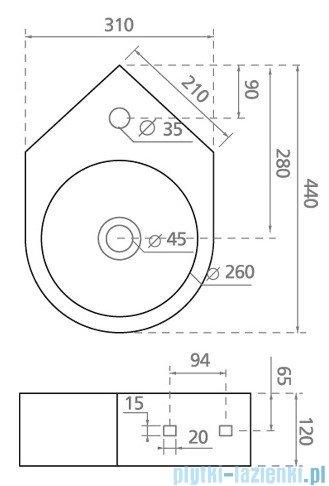 Bathco Bristol umywalka ścienna narożna 44x31cm 4049