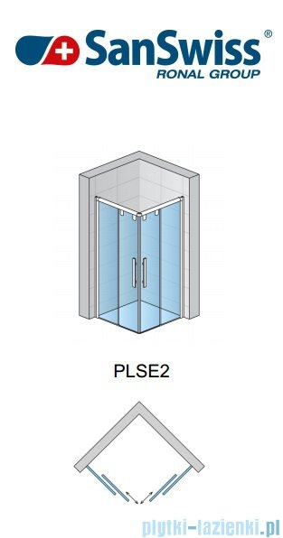 SanSwiss Pur Light S PLSE2 Drzwi narożne rozsuwane 90cm Prawe PLSE2D0900407