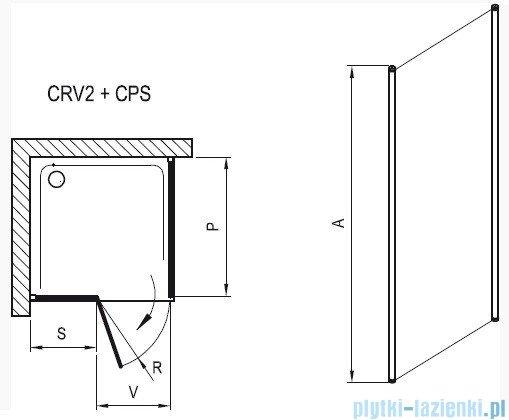 Ravak Chrome Prysznicowa ścianka stała CPS-100 biała+transparent 9QVA0100Z1