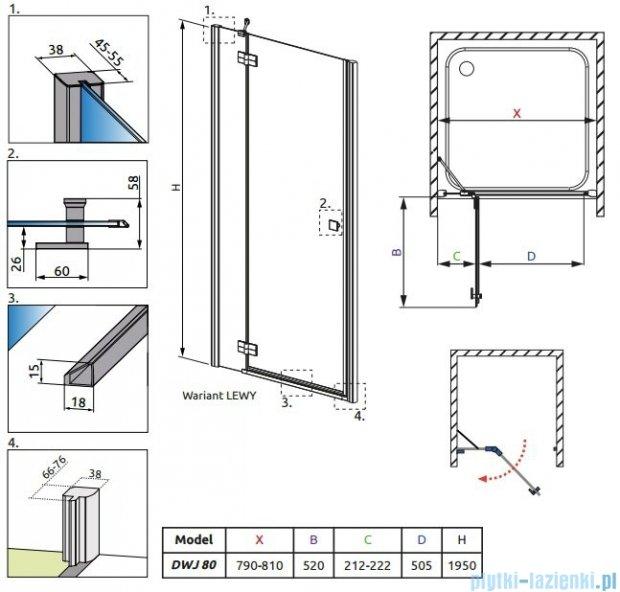 Radaway Almatea DWJ Gold drzwi wnękowe 80 Lewe szkło przejrzyste 30802-09-01N