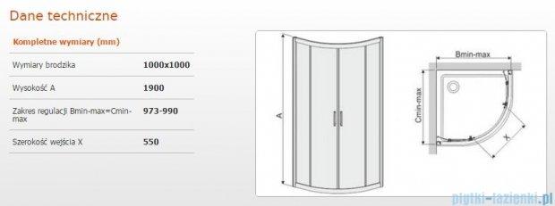 Sanplast kabina narożna półokrągła KP4/TX5b-100 100x100x190 cm szkło Grey 600-271-0270-38-501
