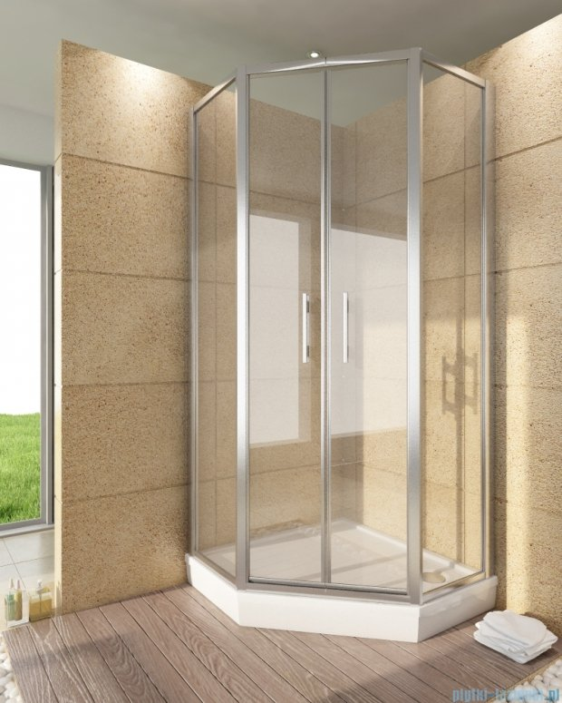 SanSwiss Top-Line Pięciokątna kabina prysznicowa TOP52 z drzwiami otwieranymi 100x100cm TOP5261000151