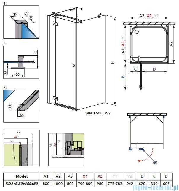 Radaway Kabina prysznicowa Almatea KDJ+S 80x100x80 lewa szkło przejrzyste + Brodzik Doros D + syfon 31552-01-01L