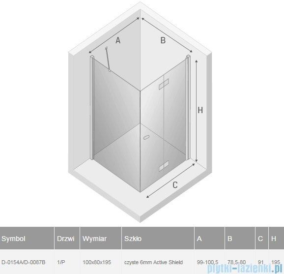 New Trendy New Soleo 100x80x195 cm kabina prawa przejrzyste D-0154A/D-0087B