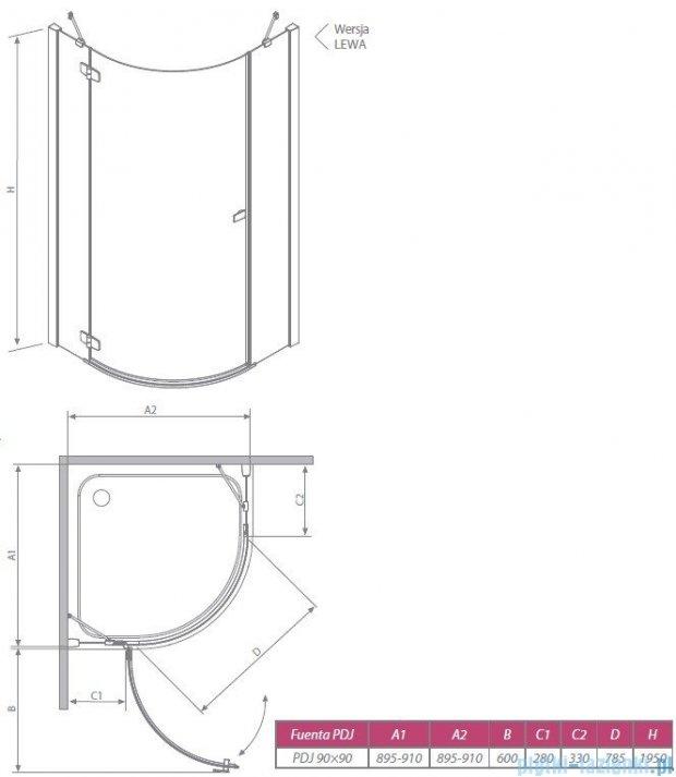 Radaway Kabina prysznicowa Fuenta PDJ 90x90 lewa szkło przejrzyste + Brodzik Delos A + syfon 381004-01NL