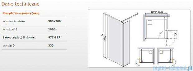Sanplast kabina Walk-In z elementem ruchomym PR2/PRIII 90x198 cm przejrzyste 600-073-0980-38-401