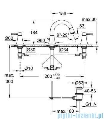 Grohe Grandera 3-otworowa bateria umywalkowa DN15 chrom/złoty 20417IG0