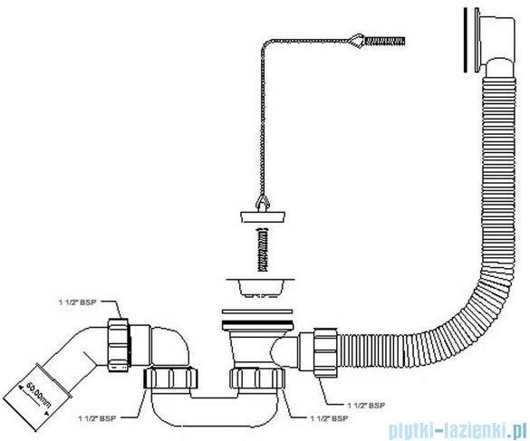 McAlpine syfon wannowy kolorze chrom HC30-EX