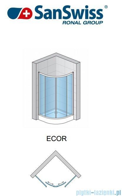 SanSwiss Eco-Line Kabina półokrągła Ecor 80cm profil biały szkło przejrzyste ECOR550800407