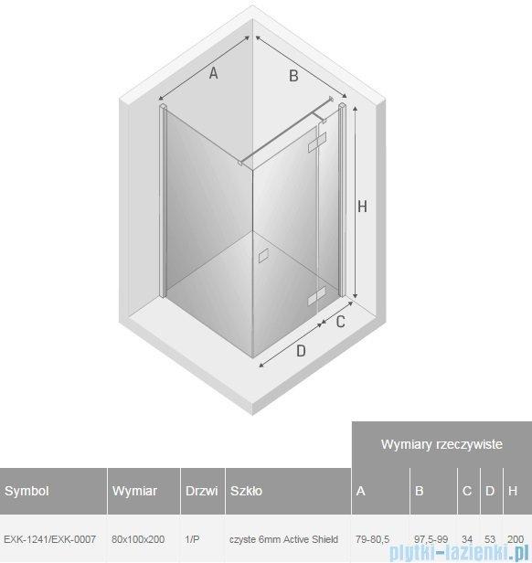New Trendy Reflexa 80x100x200 cm kabina prostokątna prawa przejrzyste EXK-1241/EXK-0007