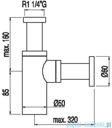 Tres Teleskopowy zewnętrzny syfon umywalkowy kolor chrom 1.61.103.72