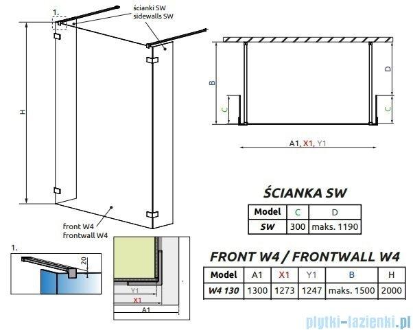 Radaway Euphoria Walk-in I kabina 130cm szkło przejrzyste 383145-01-01/383160-01-01/383160-01-01