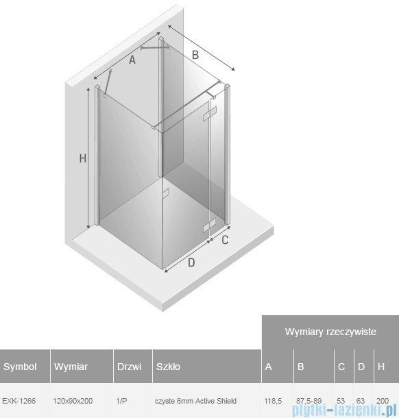 New Trendy Reflexa 120x90x200 cm kabina trójścienna prawa przejrzyste EXK-1266