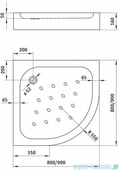 Alterna Iris brodzik półokrągły 80x80x15,5 cm ALTN-965773