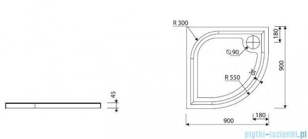 Marmorin Otero 90 brodzik półokrągły 90x90 cm biały 285090201