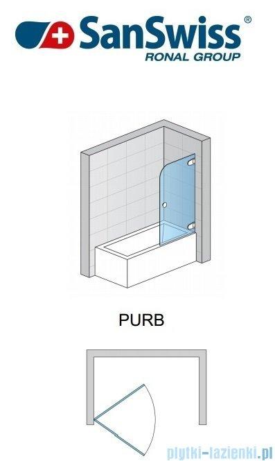 SanSwiss Pur PURB Parawan nawannowy 1-częściowy 80cm profil chrom szkło Cieniowanie czarne Prawy PURBD08001055