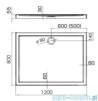 Omnires Manhattan kabina prostokątna 80x120cm szkło przejrzyste+brodzik ADC82XLUX-T/3.069