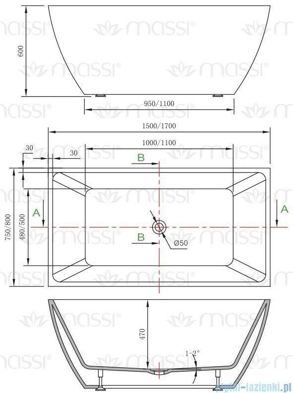 Massi Tasse 170 wanna wolnostojąca prostokątna 170x78 cm biała MSWA821170