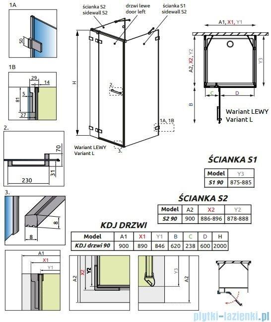 Radaway Euphoria KDJ+S Kabina przyścienna 90x90x90 lewa szkło przejrzyste 383020-01L/383050-01/383030-01