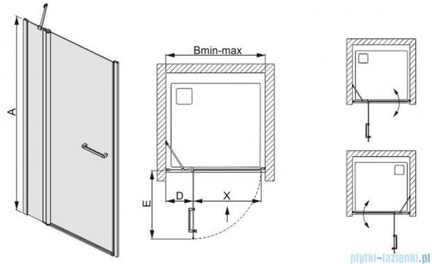 Sanplast drzwi skrzydłowe szkło: przejrzyste  DJ2/PRIII-100    600-073-0790-01-401