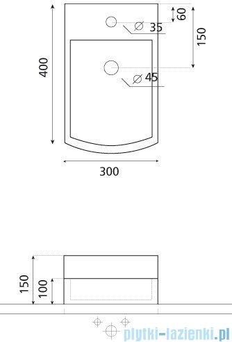 Bathco umywalka podwieszana Space 30x40 cm 0083