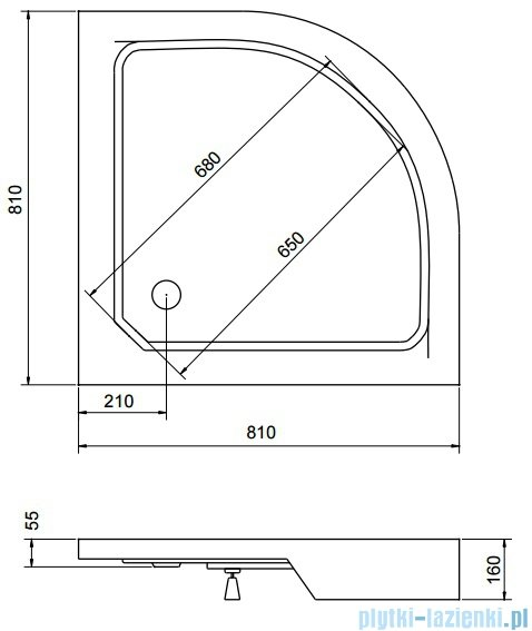 Sea Horse Sigma zestaw kabina natryskowa półokrągła, 80x80 grafit + brodzik BKZ1/3/RG