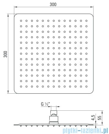Deante Floks głowica natryskowa kwadratowa 30x30 cm chrom NAC 009K