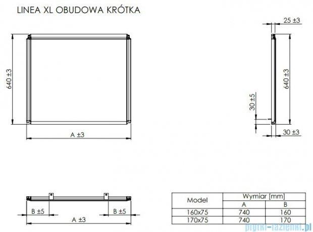 Roca Linea XL obudowa boczna do wanny 75cm A25T013000