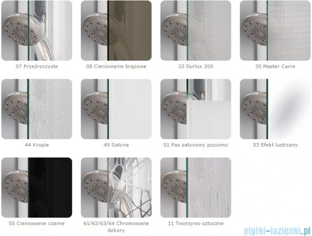 Sanswiss Melia MET3 Ścianka lewa z uchwytami i profilem 30-90/do 200cm Master Carre MET3AGSM11030