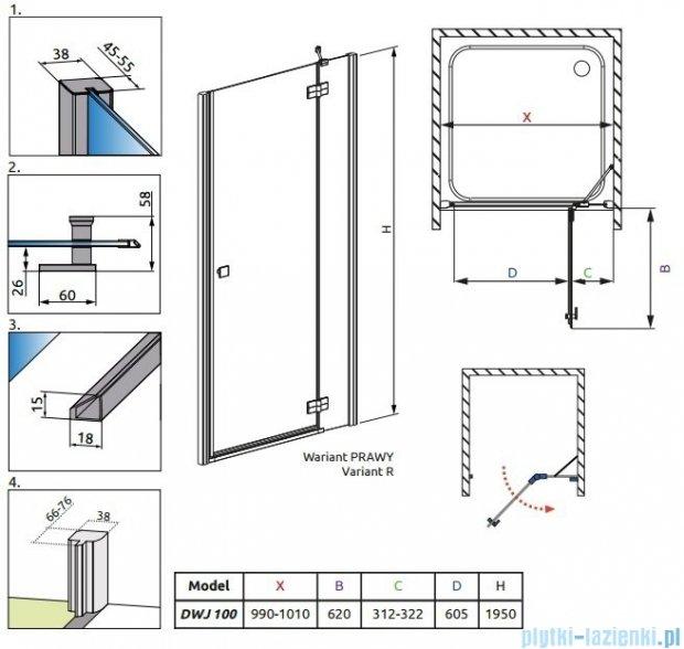 Radaway Almatea DWJ Gold drzwi wnękowe 100 prawe szkło intimato 31302-09-12N