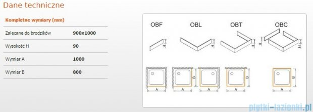 Sanplast Obudowa brodzika OBL 90x100x9 cm 625-400-1530-01-000