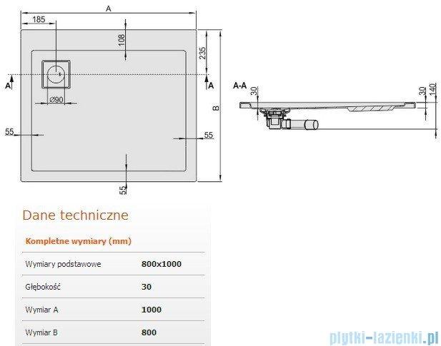 Sanplast Brodzik prostokątny Space Line 100x80x3cm + syfon 615-110-0080-01-000