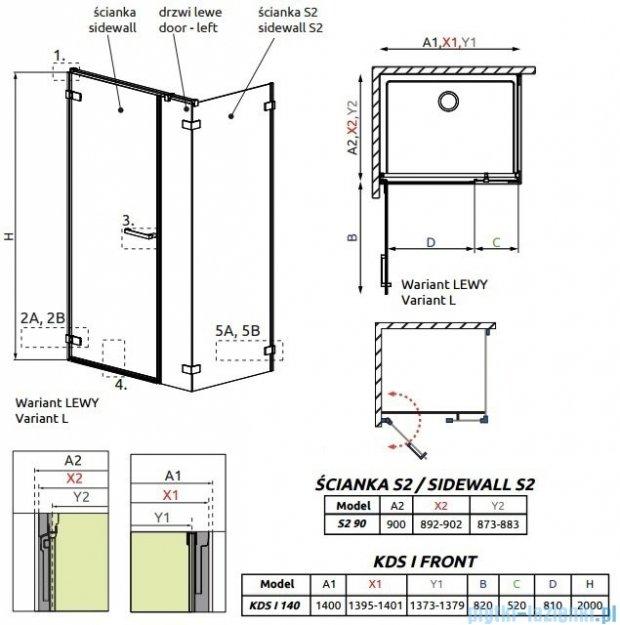 Radaway Arta Kds I kabina 140x90cm lewa szkło przejrzyste 386820-03-01L/386105-03-01L/386111-03-01