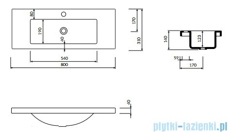 Marmorin Talia 80 umywalka nablatowa 80x31 bez otworu przelewowego i bez otworu na baterie biała 270080020010